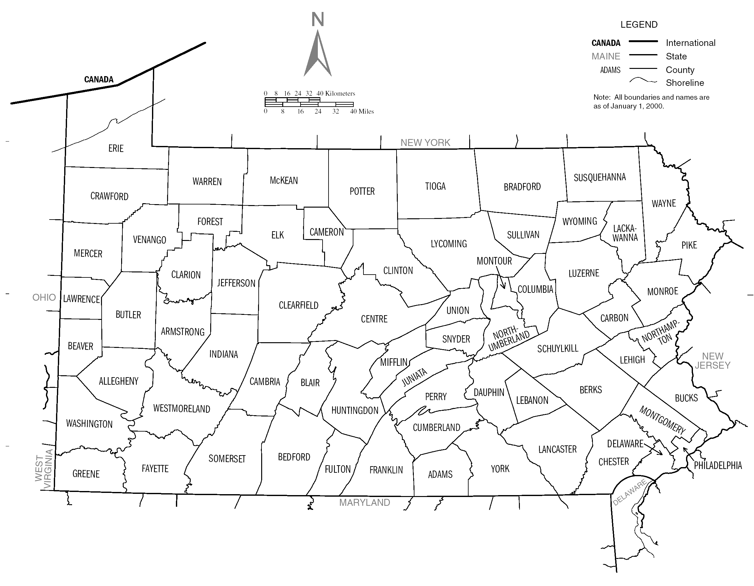 US Census PA counties map