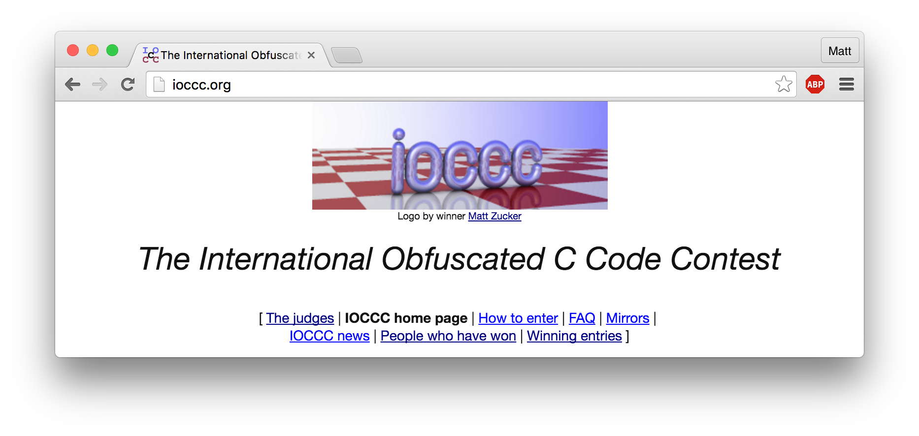 IOCCC webpage screenshot