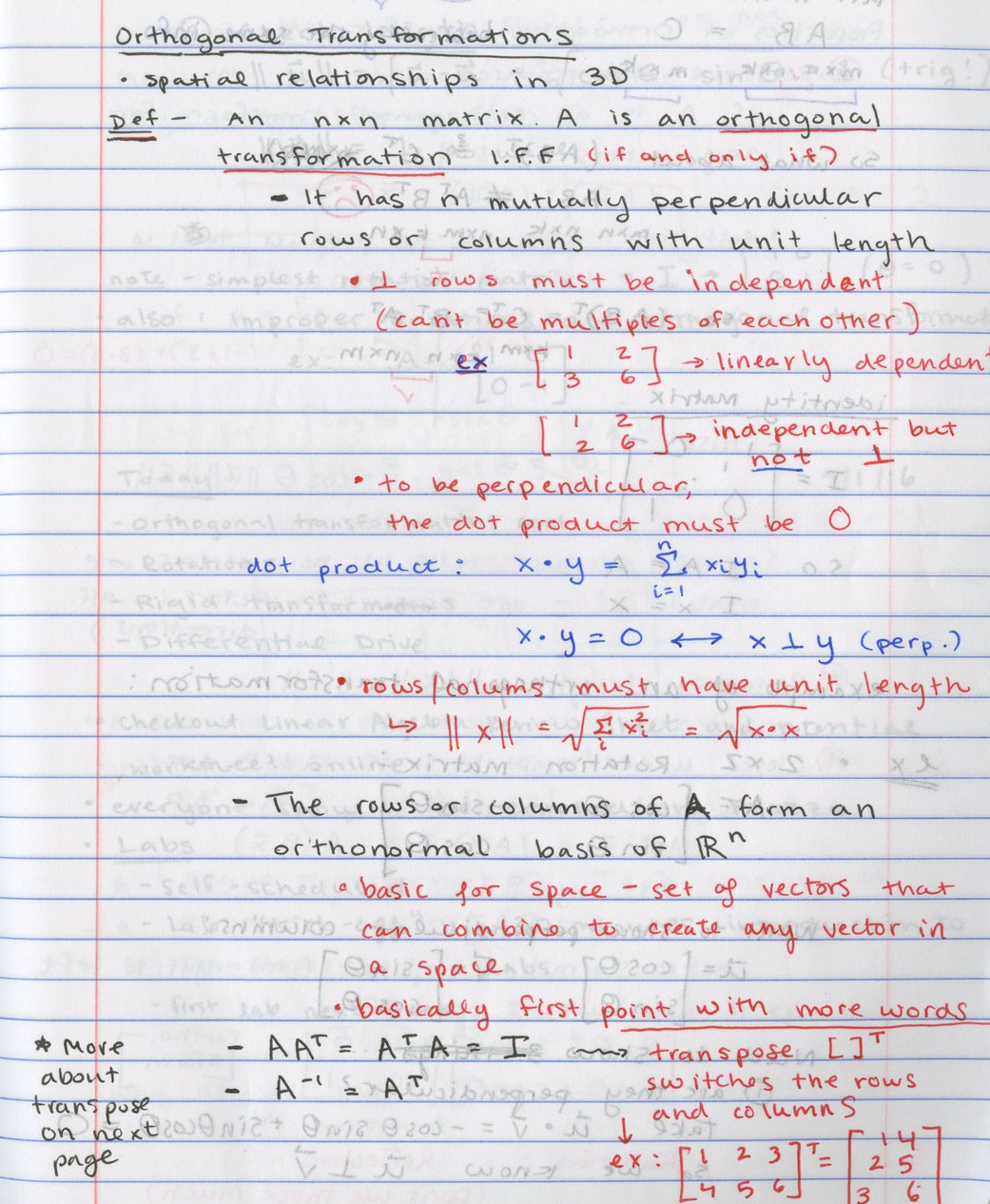 a page of notes